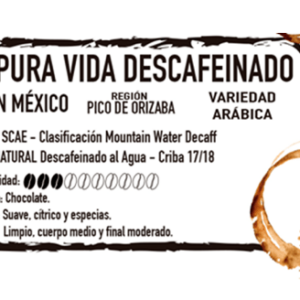 café descafeinado pura vida molido